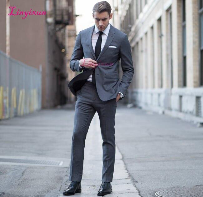 Linyixun personnalisé gris hommes costumes designers élégant intelligent décontracté homme veste rue affaires mariage slim fit classique blazer