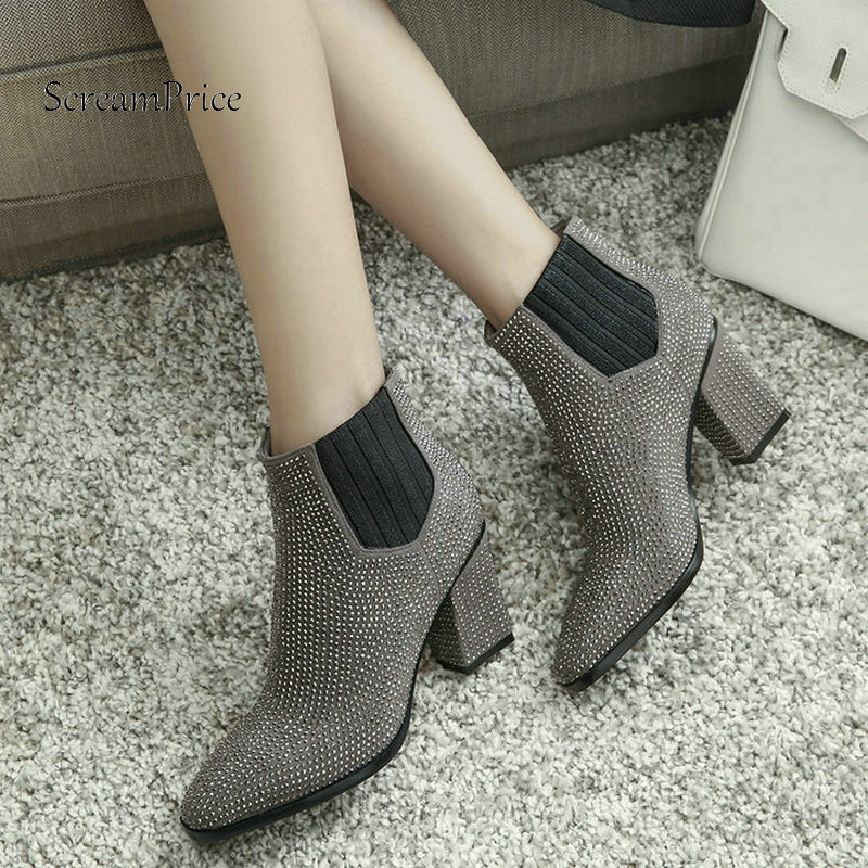 Winter Suede Comfort Square Heel Elastic Band Woman Ankle Boots Fashion Crystal Dress Shoes Woman Black Gray
