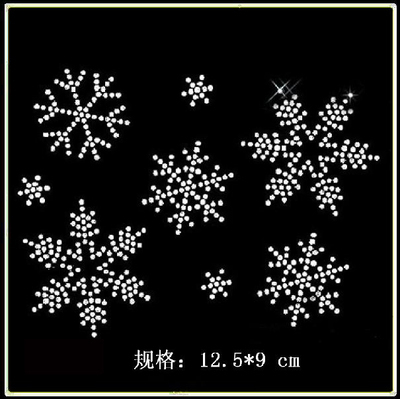 6pc lot Christmas Snow flake hot fix rhinestone motif iron on transfer  stickers hot fix applique patches for shirt bag ccdfa2979308