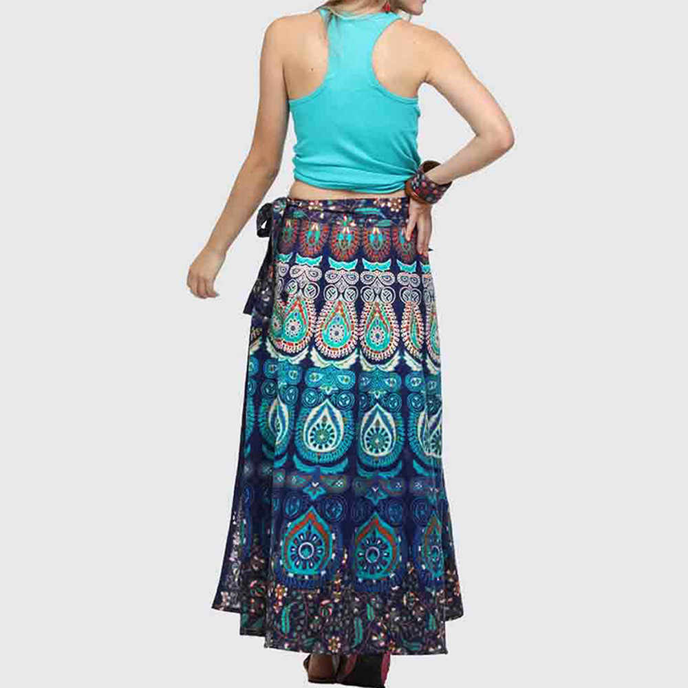 e0aeaaaf8 ... Women Bohemian Skirt Ladies Feather Print High-Waist Belt Long Skirts  Female Ethnic Beach Maxi ...