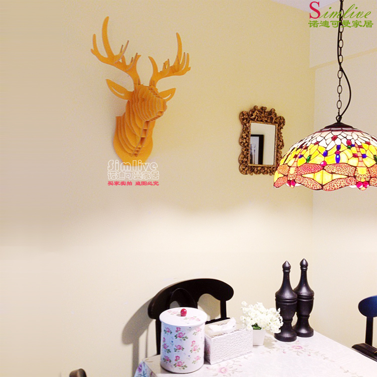 NODIC Design Carved good wood deer head hanging wall decor,DIY ...
