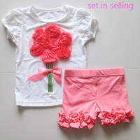 花シャツスーツ赤い花衣装ドレスパンツ衣装よちよち女の子刺繍tシャツアイシングフリルショーツ女の子夏衣