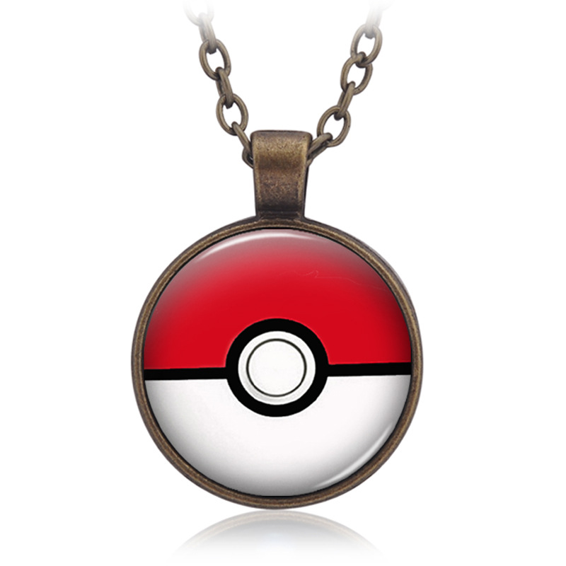 Halloween gift Anime Pokemon Necklace Glass Cabochon Pendant Jewelry Cartoon Poke Ball Accessories for adult and child