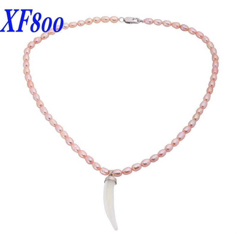 XF800 collier de perles d'eau douce naturelles rose Rare, mini collier pendentif rose 5-6mm X1213