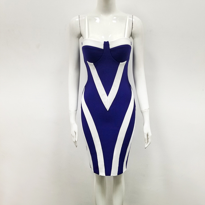 Wholesale 2019 New woman 39 s dress Royal blue Spaghetti Strap Fashion sexy elegant celebrity cocktail party bandage dress in Dresses from Women 39 s Clothing