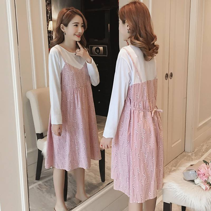 Pregnant women autumn dress Korean version of the long section fashion 2018 pregnant women loose fake two-piece skirt women work dress longsleeve spring new european station grid pencil skirt fake two professional dress l13