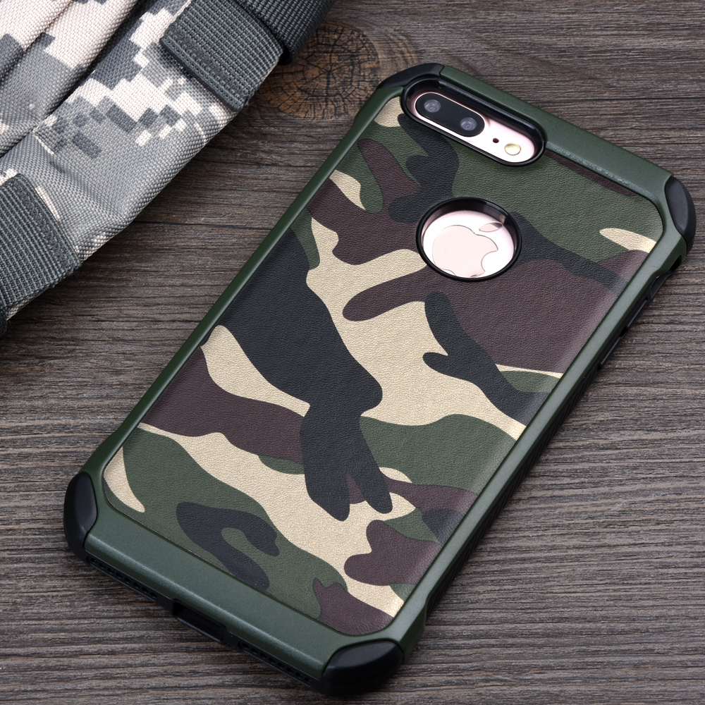 Case for iPhone 7 7Plus 2in1 Armor Hybrid Plastic+TPU Army Camo Camouflage Rear with Special Shockproof Angle Phone Cover