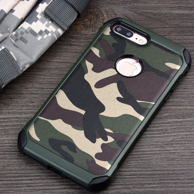 Armor Hybrid Plastic TPU Army Camouflage Back Cover for iphone 7 7Plus