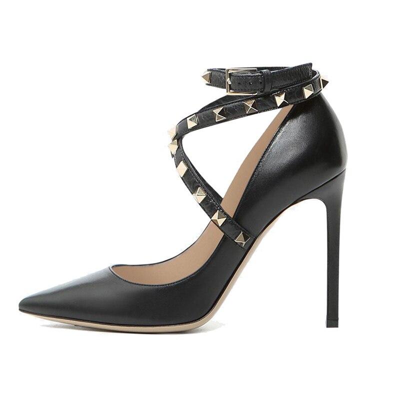 Cuir Chaussures Femmes Souple Bout Marque De Pointu Exquis Pompes Cheville Noir a0093 Rivet Haute Partie Tl En Mode Bracelet Robe Talons qxBtIU6