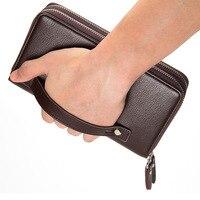 Роскошные мужские бумажники из натуральной кожи, многофункциональный длинный мужской бумажник, мужской клатч, портмоне, кошелёк, кредитниц...