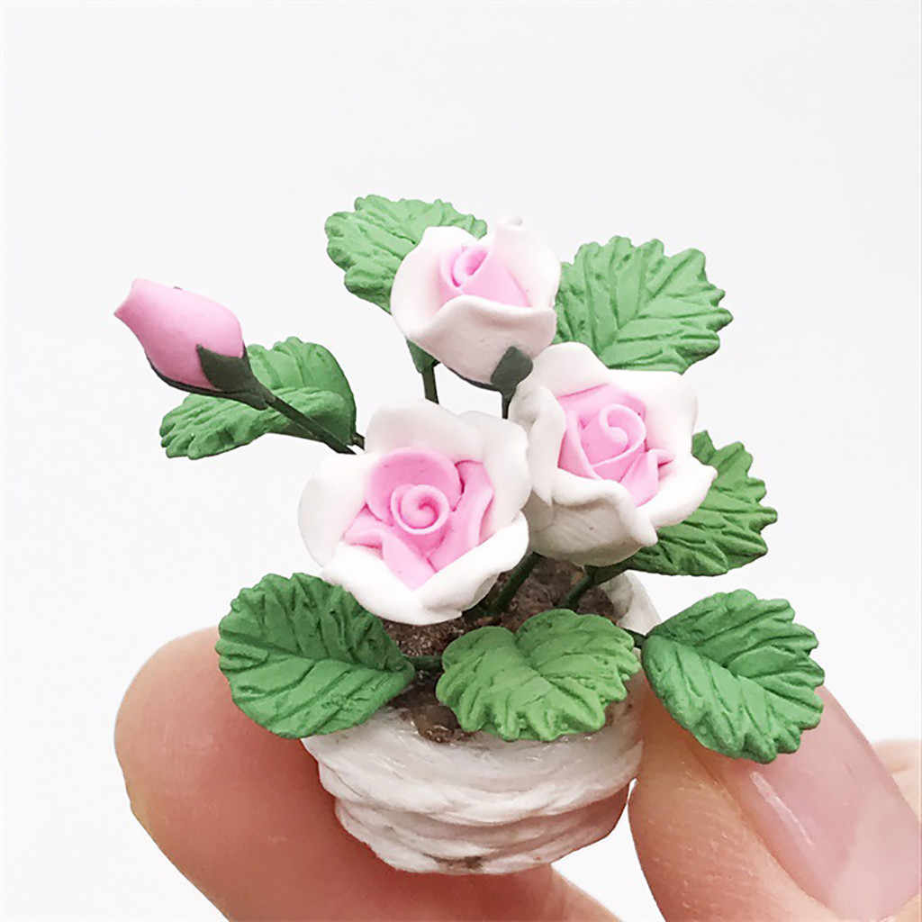 Mini Dollhouse Miniature Green Plant Flower in  Pot Fairy Garden Accessory   Dece 25th