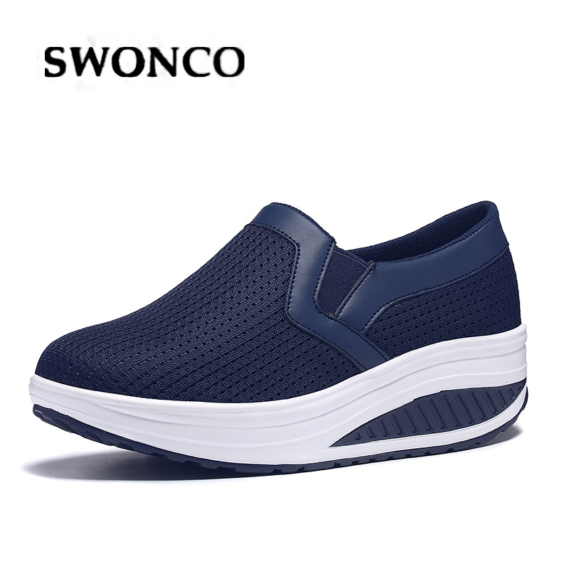 SWONCO 43 Female Auutmn Shoes Slip On Wedge Platform Snekears For Woman 2019 New Wedge Swing Shoes Slimming Lose Weight Sneaker