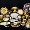 PRESTIGE GALA Dinnerware sets bone china(69 pcs) Fashion west tableware plate and coffee cup sets for home decorations