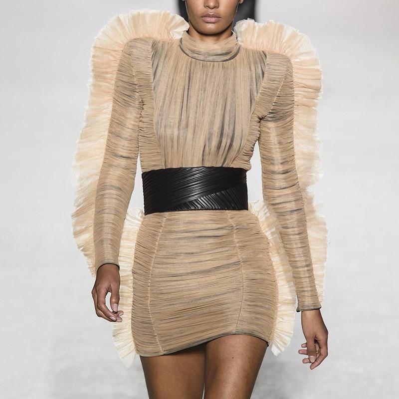 De 2019 Fête Femme Manches Taille À Robes Roulé Mini Haute Longues Bouffée Vêtements Soirée Tenue Mode Printemps Col Femmes qZRntYx