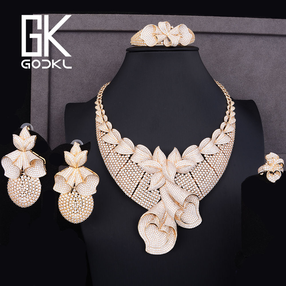 GODKI Luxury Pineapple Flower Cubic Zirconia Nigerian Bridal Jewelry set For Women Dubai gold jewelry sets indian jewelry Sets