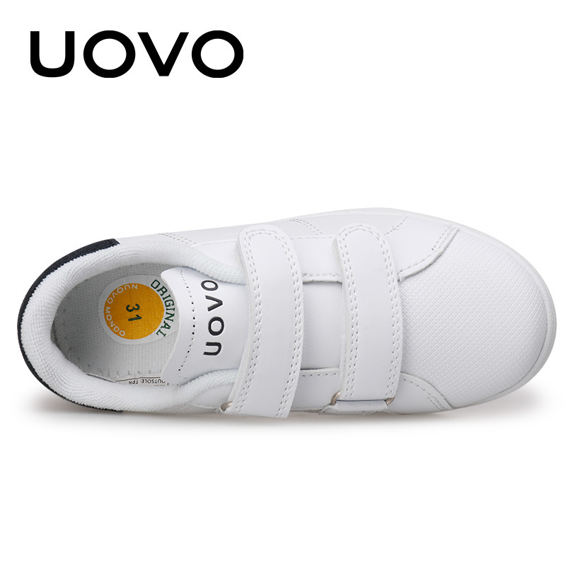 UOVO 2017 New Autumn White Shoes Classic and Simple Kids Sneakers Boys and Girls Comfortable Children Shoes for eur size 26#-39# hobibear classic sport kids shoes girls school sneakers fashion active shoes for boys trainers all season 26 37