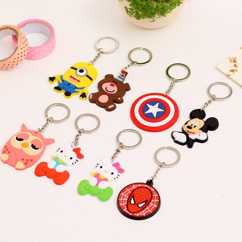 <font><b>2016</b></font> Cute Cartoon <font><b>Despicable</b></font> <font><b>Me</b></font> <font><b>2</b></font> <font><b>Minions</b></font> Spiderman Captain America Shield <font><b>Action</b></font> <font><b>Figure</b></font> Keychain Keyring Doll
