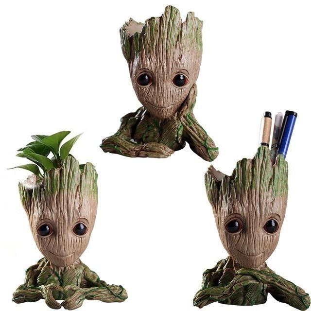 Grut Baby Groot Flowerpot Planter Pot Action Figures Cute Model Kawaii Twig Guardians Vessel Antistress Tree