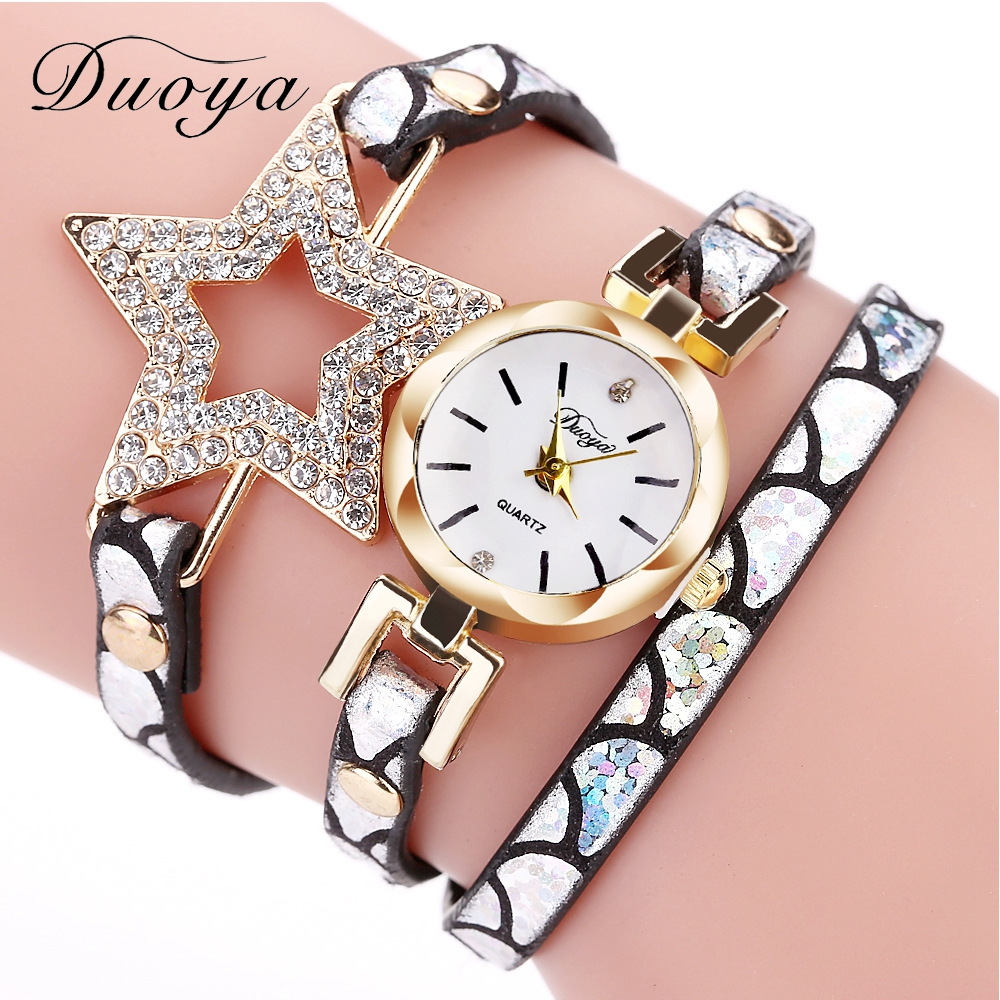 Duoya Brand Gold Star Luxury Crystal Women Bracelet Quartz Watches Fashion Leather Strap Rhinestone Wristwatch Ladies Watch 2017 women wristwatch women crystal rhinestone butterfly bracelet quartz watch wristwatch aug 23