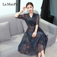 La MaxPa Dresses Of The Big Sizes 2018 New Summer V Neck Fashion Print Loose dresses Half Sleeve Loose Sashes Faux Silk Dress