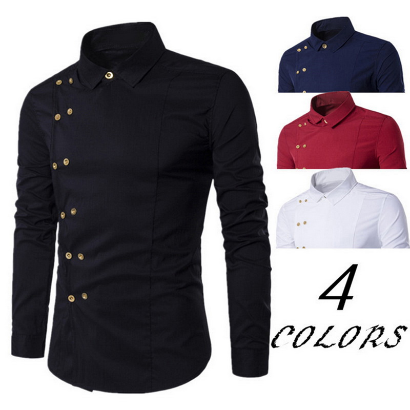 VERTVIE 2019 Men Shirt Double Breasted Dress Shirt Casual Long Sleeve Slim Fit Camisa Masculina Male Hawaiian Blouse Formal New