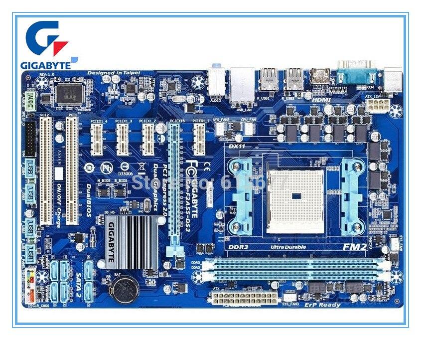 Livraison gratuite origine carte mère pour Gigabyte GA-F2A55-DS3 Socket FM2 DDR3 F2A55-DS3 USB2.0 64 GB cartes mères de bureau
