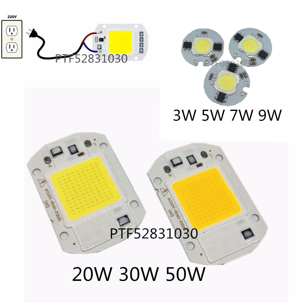 Power CoB Led Lamp Chip 3W 5W 7W 9W 20W 30W 50W Light Bulb 220V IP65 Smart IC White Warm White For LED Spotlight Floodlight cob light led cob bulb light g4 cob lamp 3w 5w 7w 9w 12w led light bulbs cob spotlight dc 12v warm white white g4 led bulb lamp
