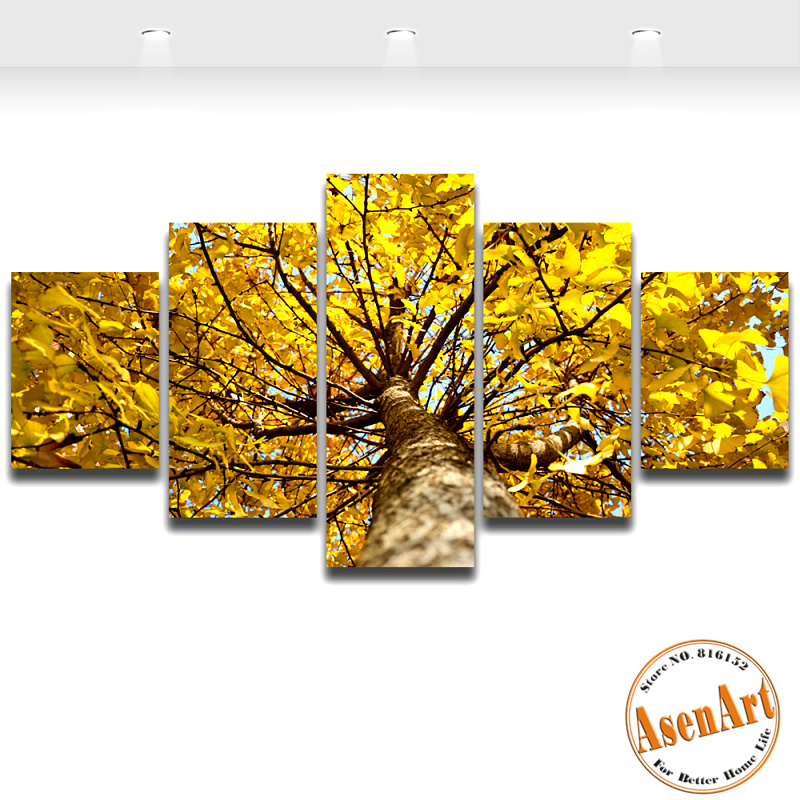 Unframed Golden Ginkgo Tree Painting 5pcs/set Oil Painting on Canvas ...