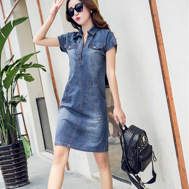 46d5fb126f0 ... 2018 женское джинсовое платье больших размеров 3xl Женская одежда синяя  рубашка платья женские офисные свободные летние ...