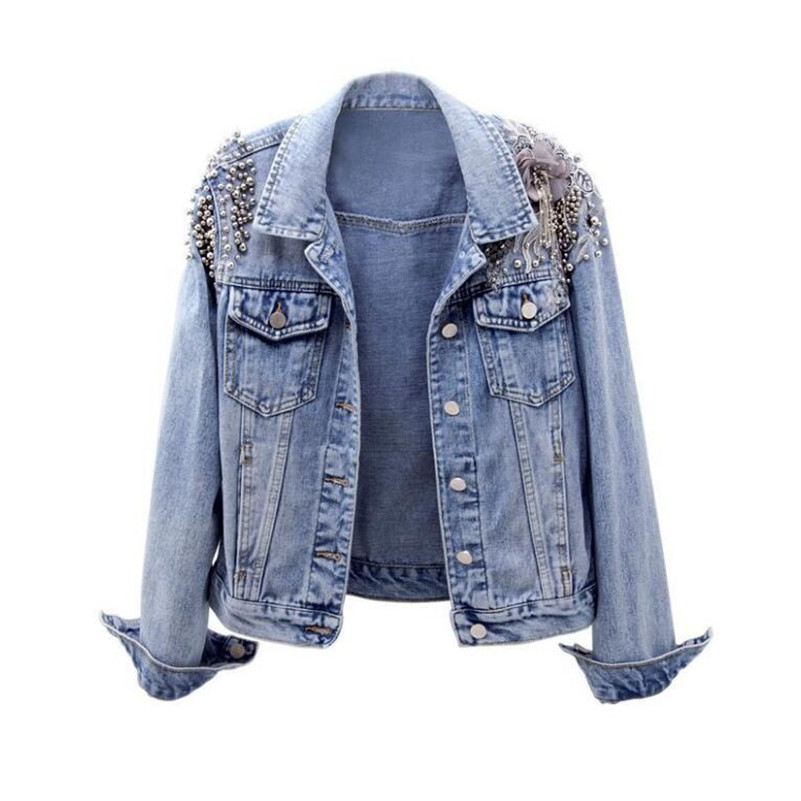 2019 spring autumn Women denim   jacket   female fashion beaded embroidery Jeans   jacket   women   basic     jacket   outwear r853