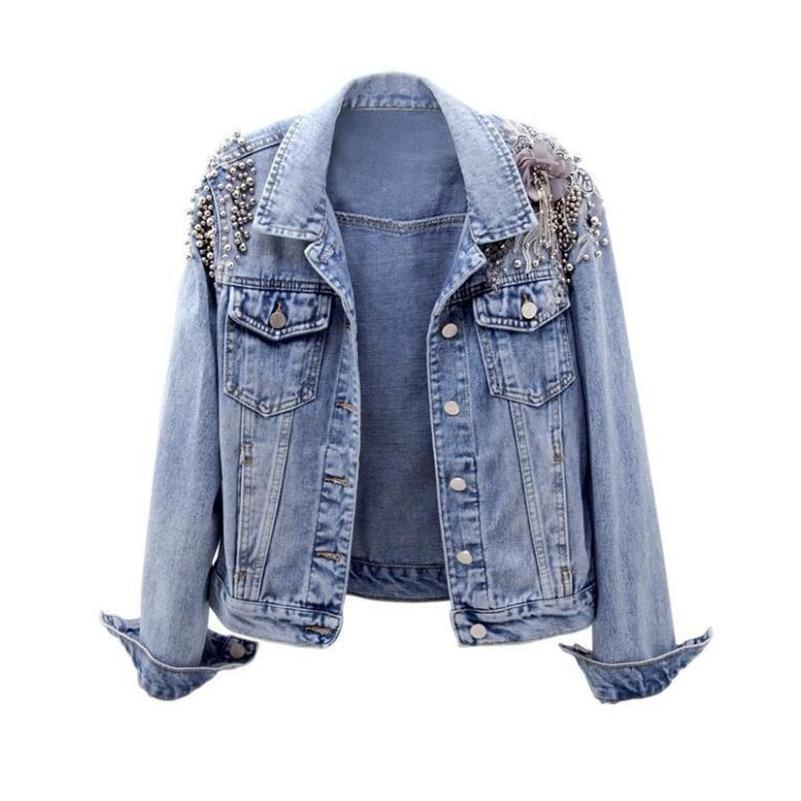 2019 spring autumn Women denim jacket female fashion beaded embroidery Jeans jacket women basic jacket outwear r853
