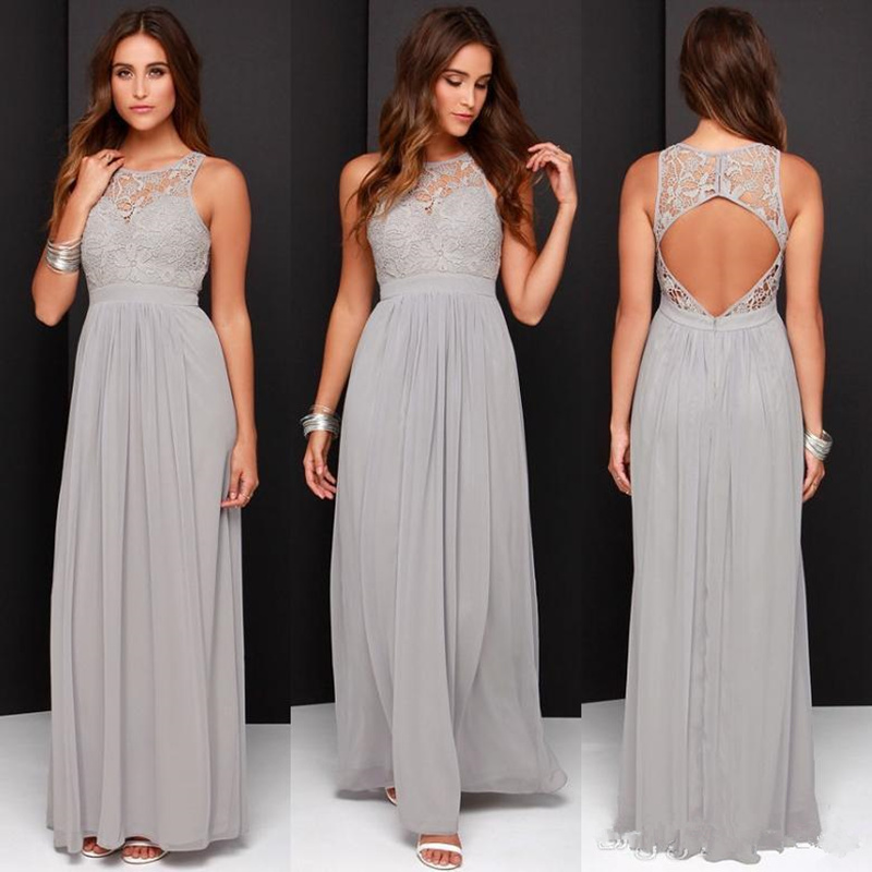 Fashion   Bridesmaid     Dresses   for Wedding Long Chiffon A-Line Backless Formal   Dresses   Party Lace Modest Maid Of Honor   Dress