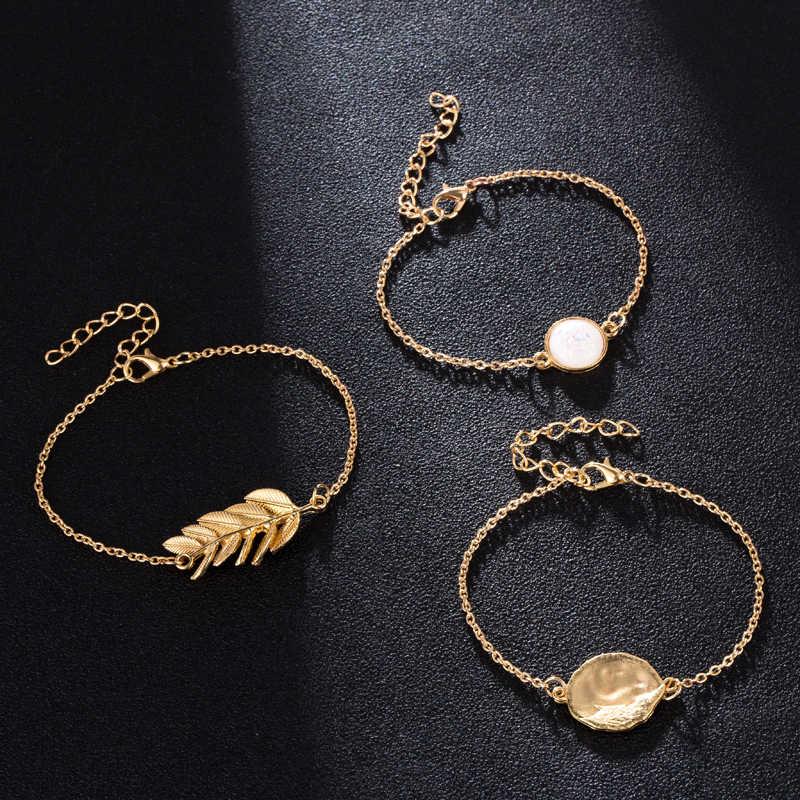 Docona בציר זהב צבע עלה עגול לבן חרוז שכבות צמיד צמיד סט לנשים גיאומטרי שרשרות צמיד סט 7119