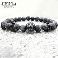 Men CZ Skull Charm Bracelets India Labradorite 8mm Natural Stone Light Beads European Buddha Bracelet For