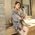 Реальные натурального меха лисы пальто женщин мода три четверти рукавом куртки дамы пальто