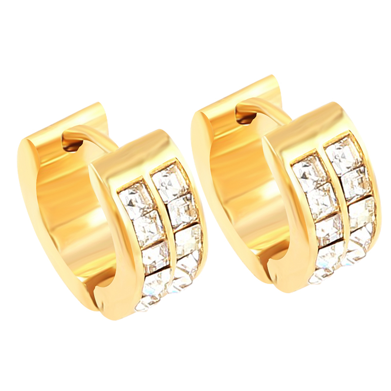 QianBei Women 316L Stainless Steel Earrings Fashion Exquisite Zircon Crystal Earring Men ...