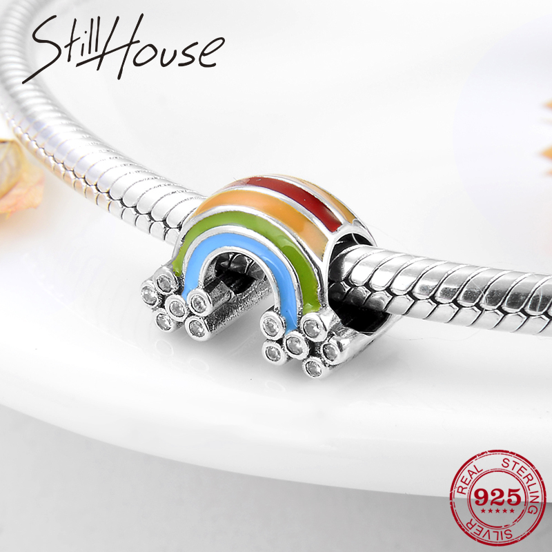 Authentic 925 Sterling Silver Colorful And Beautiful Rainbow Charms Beads Fit Original Pandora Charm Bracelet Jewelry Making