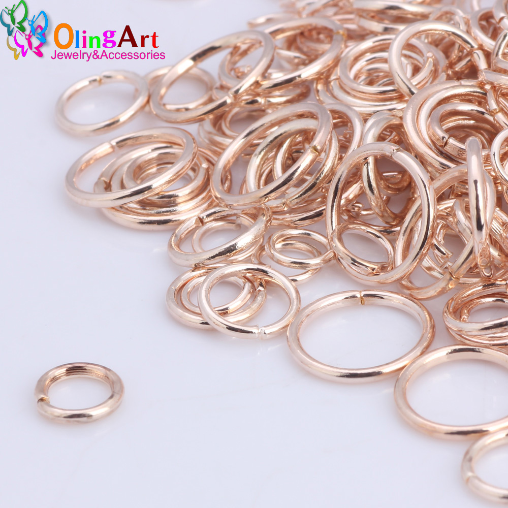 OlingArt Open Jump Ring 5mm/6mm/7mm/8mm/10mm link loop Rose gold DIY Jewelry making Connector jewelry making