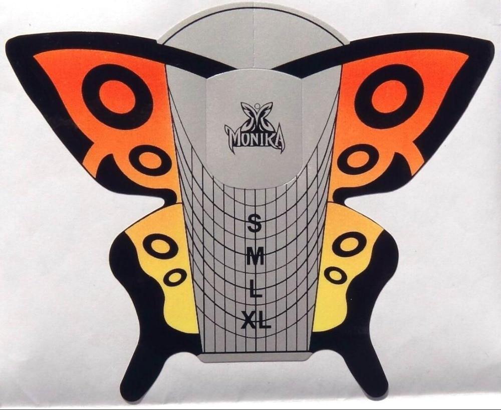 stze011011 novo 300 pcs lote borboleta formas de unhas de acrilico uv gel dica extensao unhas