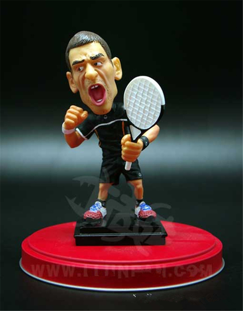 Bobblehead Cartoon Tennis Famous Star Player Doll 10 cm Resin Djokovic Figurines Black Kit Limited Edition Collections