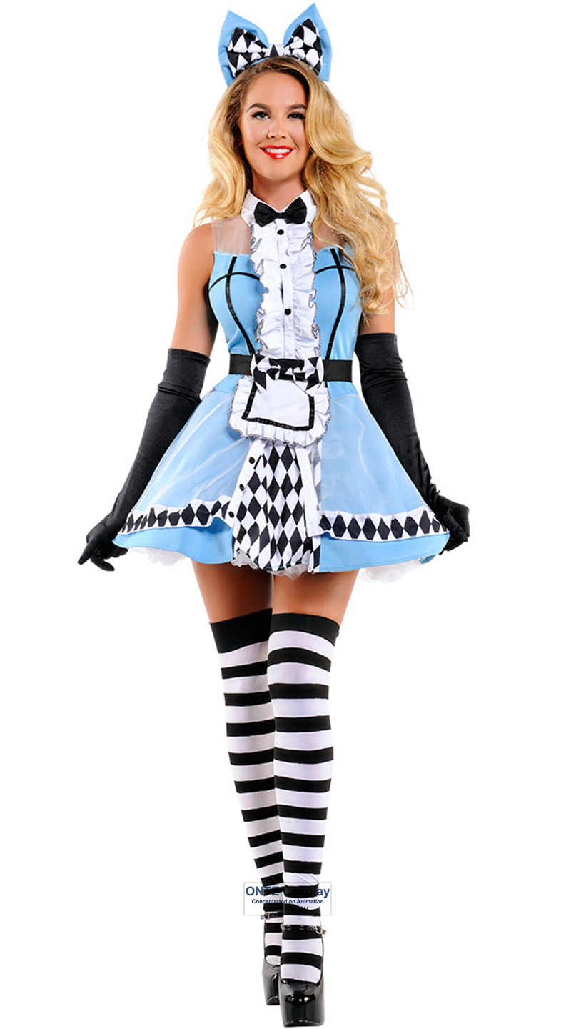 Alice in Wonderland Cosplay Costumes Poker Fashion Dress Fancy Maid Uniform Dress for Halloween Party