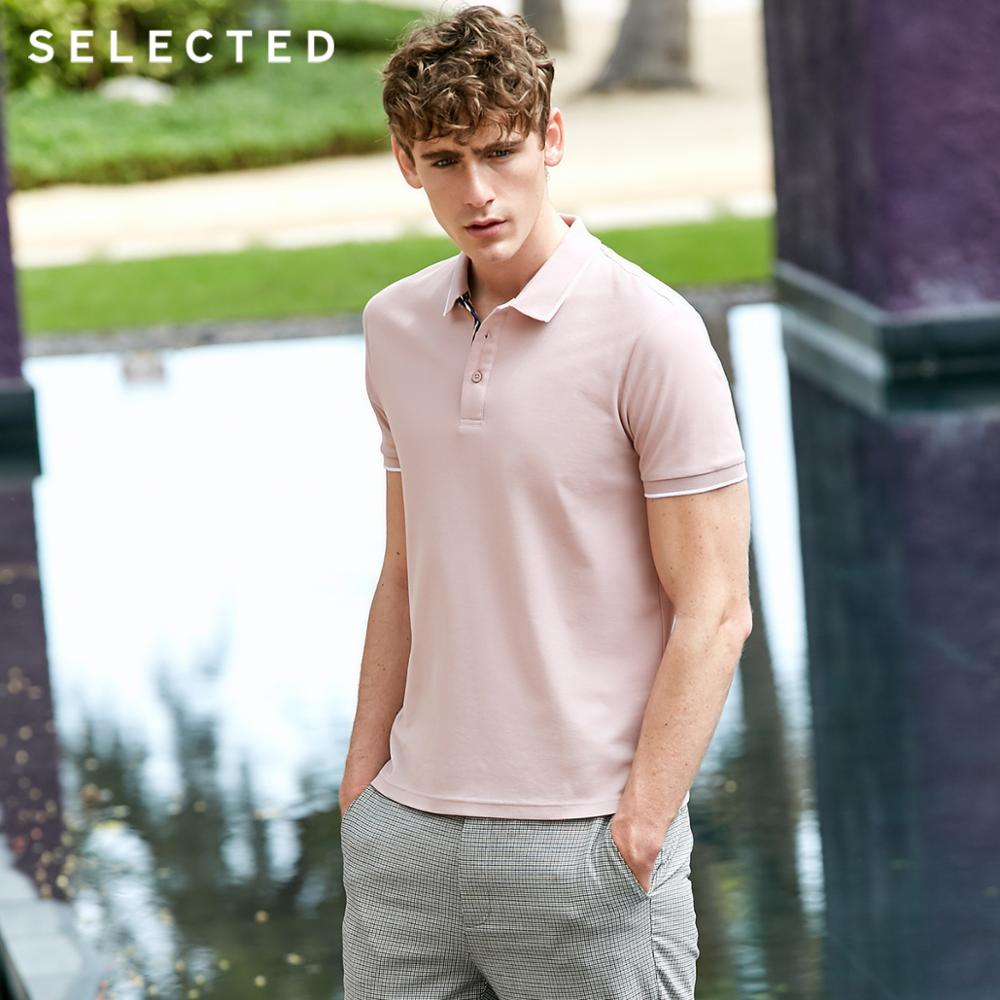 SELECTED Men's Summer Pure Color Turn-down Collar Short-sleeved Polo S|419206515