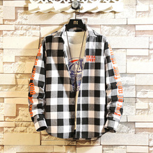 #0164 Spring Black And White Plaid Shirt For Men Long Sleeves Harajuku Streetwear Hip Hop Man Cotton Plus Size 4XL