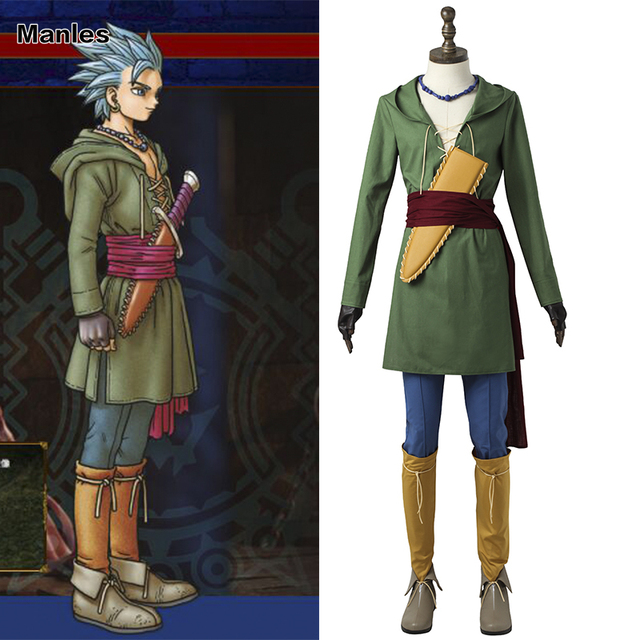 97efc740d Doragon Kuesuto Camus Costume Dragon Quest 11 Cosplay Uniform Anime Suit  Adult Men Halloween Carnival Green Outfit Custom Made