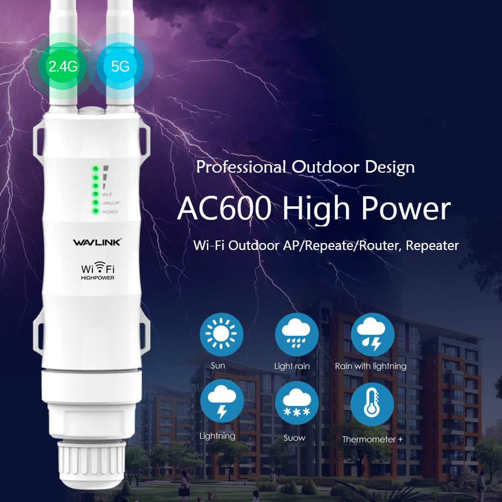 Wavlink AC600 High Power Outdoor WIFI Router/Access Point/CPE/WISP Wireless wifi Repeater Dual Dand 2.4/5Ghz 12dBi Antenna POE image