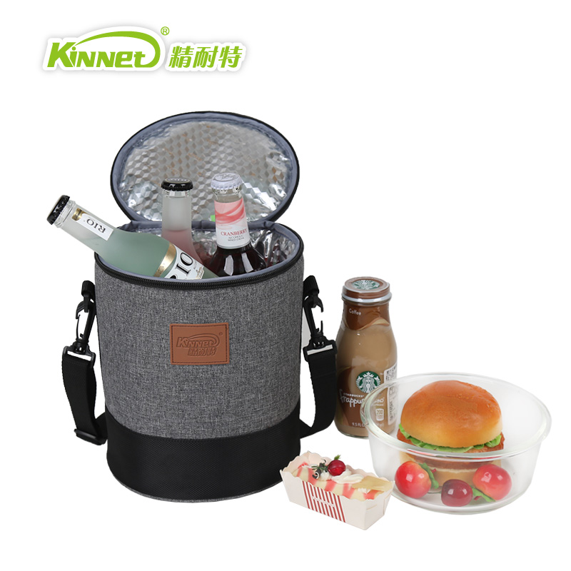 ФОТО High Barrel Insulation Package Lunch Bags Ladies Warm Food Picnic Boxes Office Staff Aluminum Thermo Cooler Women HandBags Gray