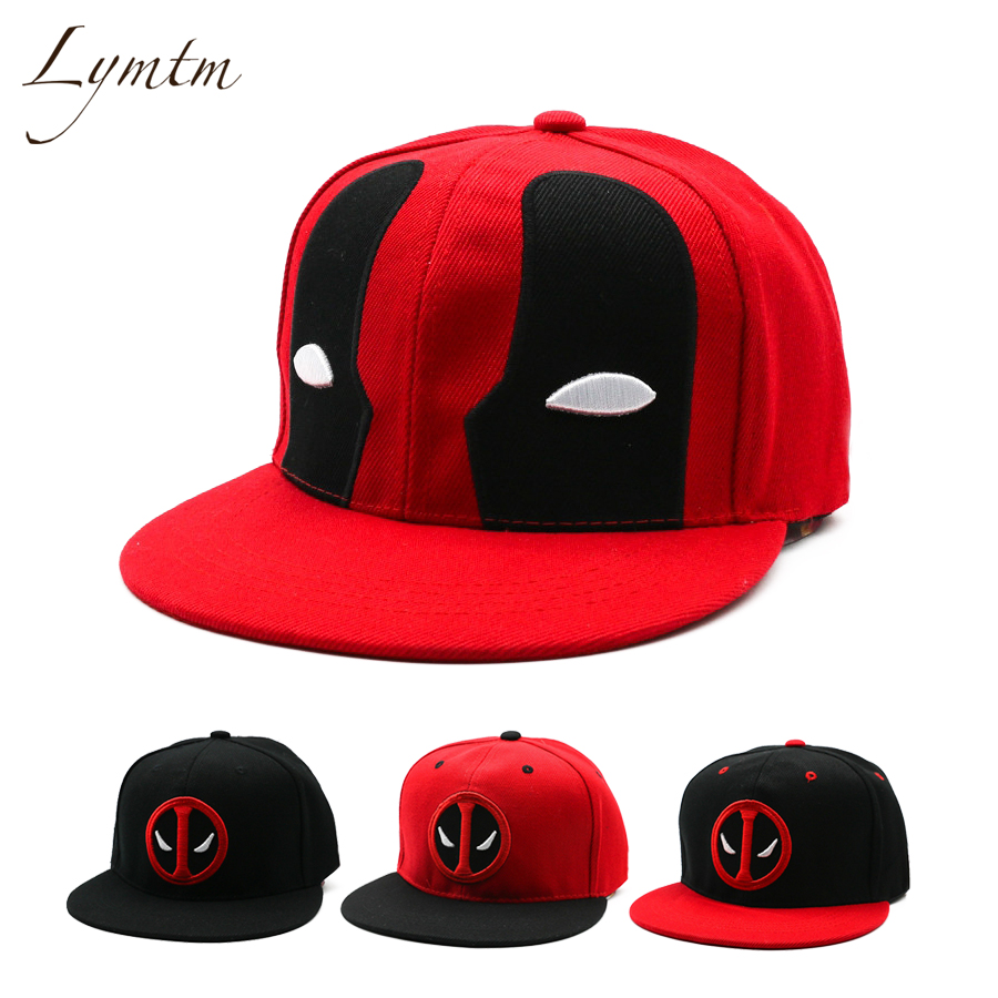 [Lymtm] Anime Deadpool Embroidery Hip Hop Snapback Hat Cotton Casual Flat Baseball Cap For Men Women Gorras Casual Bone sole crowd unisex casual caps fashion embroidery letter cotton baseball cap for women s summer snapback men hip hop hat bone
