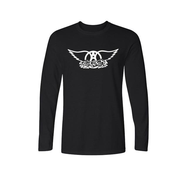 2017 Nova Primavera do Aerosmith T Shirt Dos Homens T-shirts Banda de Rock homens de Manga Longa de Algodão Rock Roll T-shirts Plus Size Camisetas Masculina