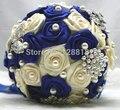 Высшего Качества ручной работы Из Бисера Брошь Невесты Свадебное Свадебный Букет Невесты Европа Сша Синий Белый Искусственный Цветок Sp8548