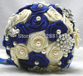 Handmade Top Quality Beaded Brooch Bride Bridal Wedding Bouquet Bridesmaid Europe Us Blue White Artificial Flower Sp8548